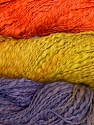 In this yarn a 100% Cotton flamme yarn is used. Dyeing process is totally hand made with natural plants and NO chemicals were used. Fiber Content 100% Cotton, Orange, Olive Green, Lilac, Brand ICE, Yarn Thickness 3 Light  DK, Light, Worsted, fnt2-29468
