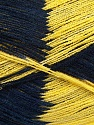 Very thin yarn. It is spinned as two threads. So you will knit as two threads. Yardage information if for two strands. Fiber Content 100% Acrylic, Yellow, Navy, Brand ICE, Yarn Thickness 1 SuperFine  Sock, Fingering, Baby, fnt2-39623