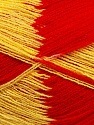 Very thin yarn. It is spinned as two threads. So you will knit as two threads. Yardage information if for two strands. Fiber Content 100% Acrylic, Yellow, Red, Brand ICE, Yarn Thickness 1 SuperFine  Sock, Fingering, Baby, fnt2-39624