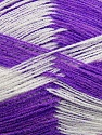 Very thin yarn. It is spinned as two threads. So you will knit as two threads. Yardage information if for two strands. Fiber Content 100% Acrylic, White, Lavender, Brand ICE, Yarn Thickness 1 SuperFine  Sock, Fingering, Baby, fnt2-39630