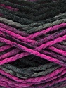 Easy knit bulky yarn. Note that this is a self-stripping yarn. Please see package photos for the color change. Machine washable and dryable. Fiber Content 100% Acrylic, Pink, Brand Ice Yarns, Grey, Black, Yarn Thickness 5 Bulky  Chunky, Craft, Rug, fnt2-42546