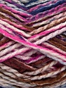 Easy knit bulky yarn. Note that this is a self-stripping yarn. Please see package photos for the color change. Machine washable and dryable. Fiber Content 100% Acrylic, White, Purple, Brand Ice Yarns, Fuchsia, Brown, Yarn Thickness 5 Bulky  Chunky, Craft, Rug, fnt2-42551
