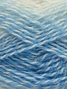 Note that this is a self-stripping yarn. Please see package photos for the color change. Machine washable and dryable. Fiber Content 100% Acrylic, White, Brand ICE, Baby Blue, Yarn Thickness 3 Light  DK, Light, Worsted, fnt2-42733