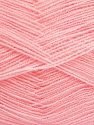 Very thin yarn. It is spinned as two threads. So you will knit as two threads. Yardage information is for only one strand. Fiber Content 100% Acrylic, Light Pink, Brand ICE, fnt2-42862
