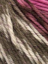 Fiber Content 95% Merino Wool, 5% Metallic Lurex, Rose Pink, Brand Ice Yarns, Brown Shades, fnt2-43620