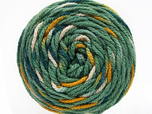Fiber Content 80% Acrylic, 20% Polyamide, White, Teal, Brand ICE, Green, Gold, Yarn Thickness 4 Medium  Worsted, Afghan, Aran, fnt2-53208