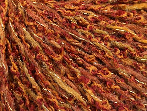 Fiber Content 58% Acrylic, 40% Wool, 2% Metallic Lurex, Yellow, Brand ICE, Gold, Copper, fnt2-58956