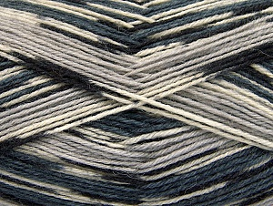 Fiber Content 75% Superwash Wool, 25% Polyamide, White, Brand ICE, Grey Shades, Black, Yarn Thickness 1 SuperFine  Sock, Fingering, Baby, fnt2-59005