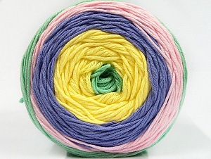 Fiber Content 50% Cotton, 50% Acrylic, Yellow, Pink, Mint Green, Lilac, Brand ICE, Yarn Thickness 3 Light  DK, Light, Worsted, fnt2-61796