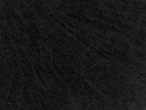 Knitted as 4 ply Fiber Content 40% Polyamide, 30% Acrylic, 30% Kid Mohair, Brand ICE, Black, Yarn Thickness 1 SuperFine  Sock, Fingering, Baby, fnt2-62570