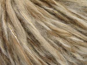 Fiber Content 50% Wool, 5% Metallic Lurex, 45% Acrylic, Brand ICE, Gold, Cream Shades, fnt2-62602