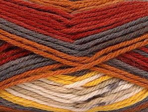 Fiber Content 75% Superwash Wool, 25% Polyamide, Yellow, Brand ICE, Grey, Cream, Copper, fnt2-63022