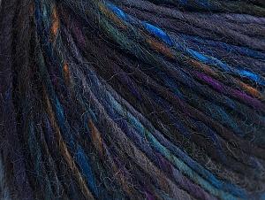 Fiber Content 65% Wool, 35% Acrylic, Purple, Brand ICE, Blue Shades, Black, Yarn Thickness 4 Medium  Worsted, Afghan, Aran, fnt2-63081