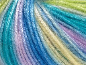 Fiber Content 56% Polyester, 44% Acrylic, Yellow, Turquoise, Lilac, Light Green, Brand Ice Yarns, fnt2-65917
