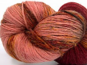 Please note that this is a hand-dyed yarn. Colors in different lots may vary because of the charateristics of the yarn. Also see the package photos for the colorway in full; as skein photos may not show all colors. Fiber Content 75% Super Wash Wool, 25% Polyamide, Rose Brown, Light Pink, Brand Ice Yarns, Gold, Burgundy Shades, fnt2-66268