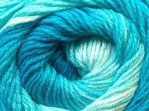 Fiber Content 100% Acrylic, White, Turquoise Shades, Brand ICE, Yarn Thickness 3 Light  DK, Light, Worsted, fnt2-22018