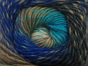 Fiber Content 70% Dralon, 30% Wool, Turquoise, Brand Ice Yarns, Grey, Camel, Blue Shades, Yarn Thickness 4 Medium  Worsted, Afghan, Aran, fnt2-42762