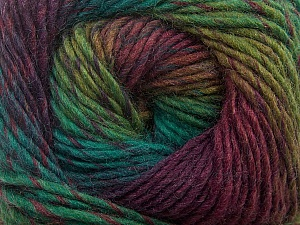 Fiber Content 70% Dralon, 30% Wool, Maroon, Brand ICE, Green Shades, Yarn Thickness 4 Medium  Worsted, Afghan, Aran, fnt2-42766