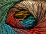 This is a self-striping yarn. Please see package photo for the color combination. Fiber Content 100% Premium Acrylic, Turquoise, Brand ICE, Green, Gold, Copper, Brown, fnt2-63038