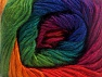 This is a self-striping yarn. Please see package photo for the color combination. Fiber Content 100% Premium Acrylic, Red, Purple, Brand ICE, Green, Gold, Blue, fnt2-63042