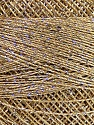 Fiber Content 70% Polyester, 30% Metallic Lurex, Silver, Brand ICE, Beige, Yarn Thickness 0 Lace  Fingering Crochet Thread, fnt2-40701