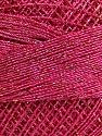 Fiber Content 70% Polyester, 30% Metallic Lurex, Brand ICE, Gold, Fuchsia, Yarn Thickness 0 Lace  Fingering Crochet Thread, fnt2-40709