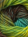 Fiber Content 100% Wool, Turquoise, Neon Green, Brand ICE, Brown Shades, Yarn Thickness 4 Medium  Worsted, Afghan, Aran, fnt2-43062